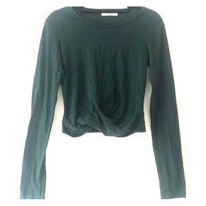 Hunter green long sleeve Zara top